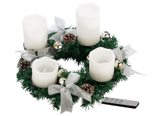 Couronne de l'Avent avec ornements argentés & 4 bougies à LED