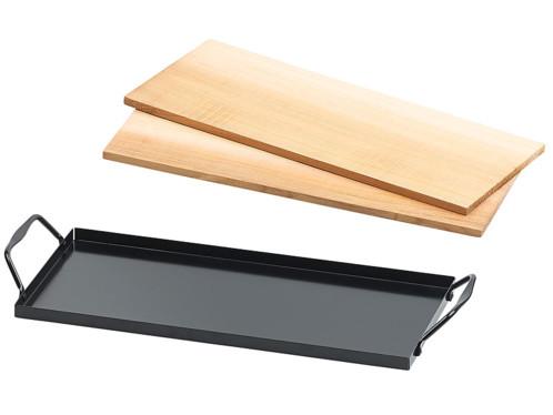 Ensemble de 2 planches à fumer en bois de cèdre avec plaque en métal