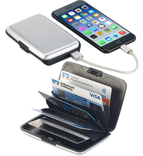 portefeuille etui a cartes rfid anti hack carte bancaire avec batterie usb de secours integree