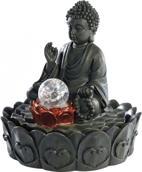 fontaine d 39 ambiance lumineuse bouddha avec boule en verre. Black Bedroom Furniture Sets. Home Design Ideas