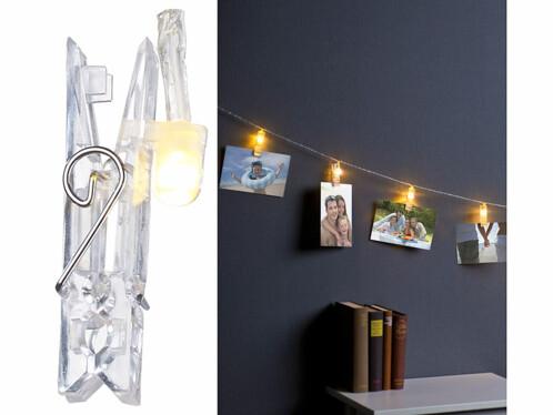Guirlande porte-photos avec 20 pinces à LED (6 m)