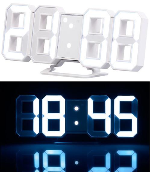 Horloge à LED avec fonction réveil et luminosité variable, 21cm