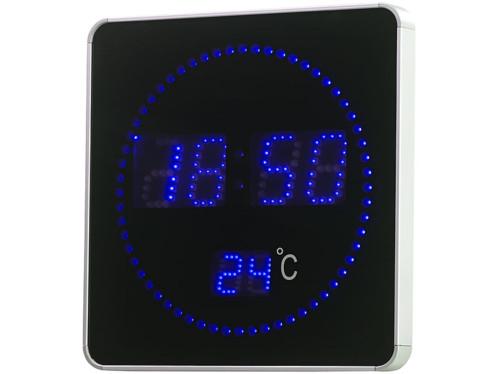 Horloge murale radio-pilotée à LED bleues et affichage de la température