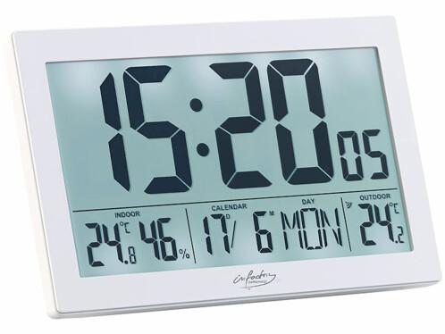 Horloge radio-pilotée XL avec thermo-hygromètre et capteur extérieur - Blanc