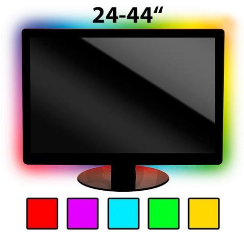 kit de r tro clairage led pour tv jusqu 39 70 39 39 blanc ou couleur. Black Bedroom Furniture Sets. Home Design Ideas
