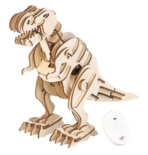 maquette en bois de dinosaure T-rex a construire a peindre pour enfant avec module radiocommandé rugissements