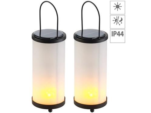 Pack de 2 lanternes solaires à LED avec 96 LED effet flamme