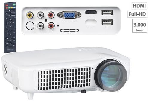 video projecteur professionnel led 3000 lumen full hd 1080p hdmi avec lecteur usb sorties cinch vga lb-9500 auvisio