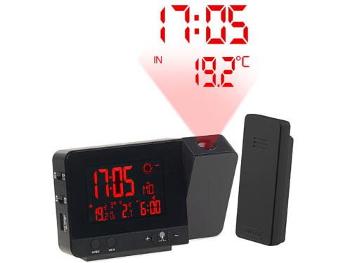 Réveil à projection et station météo sans fil 2 en 1 noir (reconditionné)