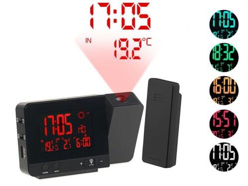 Réveil à projection et station météo sans fil 2 en 1 - Noir