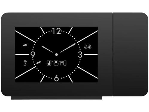 Réveil à projection radio-piloté avec double réveil et thermo-hygromètre de la marque Infactory.