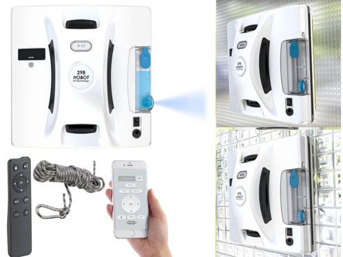 robot nettoyeur de vitres automatique avec application pour surfaces lisses ou rugueuses avec réservoir spray pour produit lave vitres pr041 v4