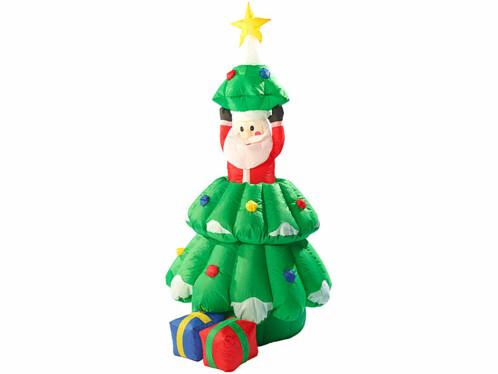 Sapin De Noel Gonflable Déco de Noël Sapin autogonflant 155 cm avec Père Noël animé | Pearl.fr