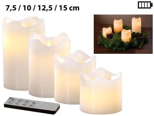 Set de 4 bougies LED en cire véritable - Blanc avec flamme vacillante
