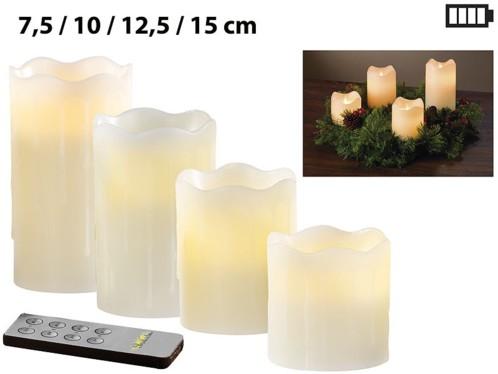 Set de 4 bougies LED en cire véritable - Blanc