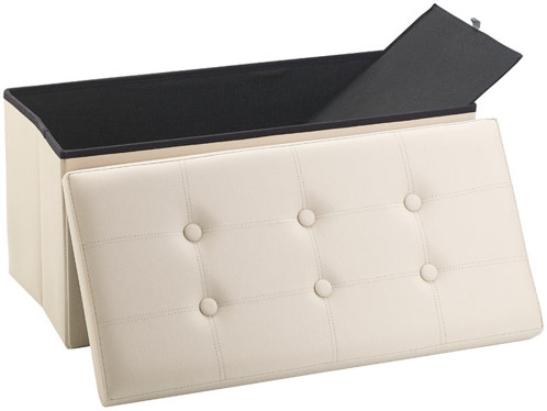 Siège pliable en cuir beige Infactory avec coffre de rangement80 L.