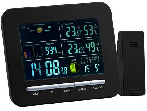station meteo digitale numerique avec previsions meteo thermomètre temperature hygrometre humidité interieur exterieur phases de la lune pressions date heure reveil fws-270