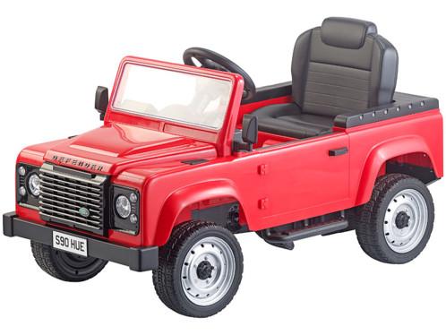 Voiture pour enfant Land Rover rouge.
