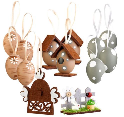 set de 13 decorations de paques en tulle et papier maché à accrocher