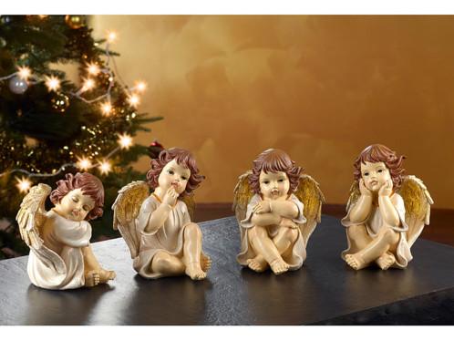 4 anges de Noël décoratifs - 20 cm