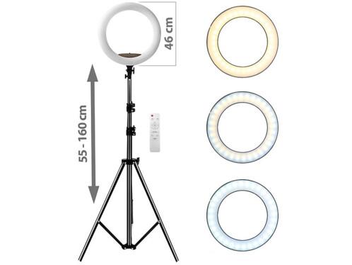 Anneau lumineux LED Ø 45 cm 2600 lm avec support smartphone