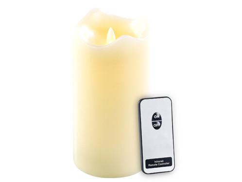 Bougie télécommandée à LED scintillante, cire véritable - 18 cm