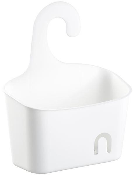 Corbeille de douche extensible avec crochet, coloris blanc