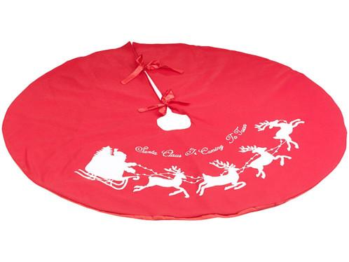 couverture ronde pour sapin de noel rouge avec rennes et pere noel cache cables