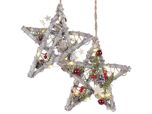 Lot de 2 étoiles lumineuses sans fil en bois avec pommes de pin