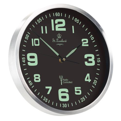 Horloge murale-radio pilotée phosphorescente à quartz
