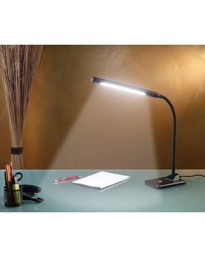 lampe de bureau t te orientable 14 led 7 w gris noir. Black Bedroom Furniture Sets. Home Design Ideas