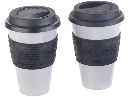 "Lot de 2 gobelets ""Coffee-to-go"" en bambou mélaminé avec couvercle"