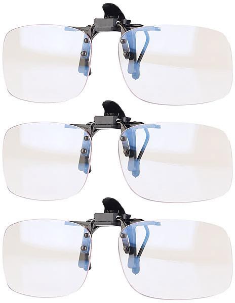 Lot de 3 clips sur-lunettes anti lumière bleue + UV 400