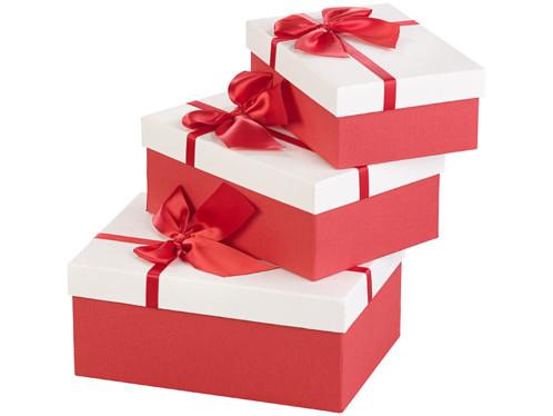 Lot de 3 paquets cadeau rouges et blancs pré-emballés pour cadeaux de noel et anniversaire