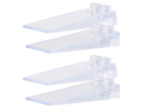 Lot de 4 cale-portes transparents empilables, 8,7 cm