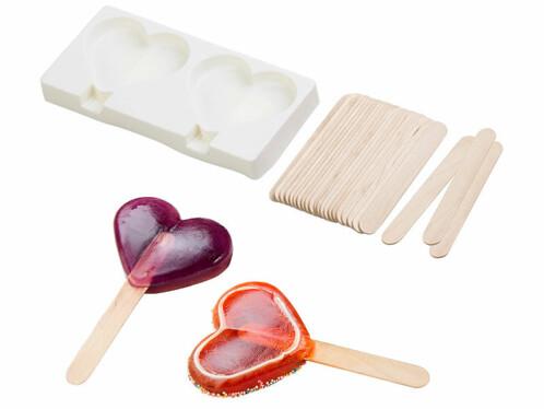 Moule en silicone forme cœur 80ml et 24bâtonnets - Pour 2 glaces
