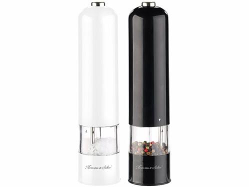 2 moulins à poivre et sel électriques avec broyeur en céramique - Noir et Blanc