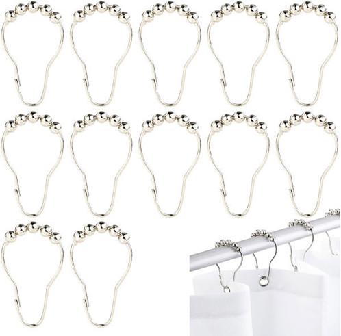 Pack de 12 anneaux en acier avec système de billes pour rideau de douche