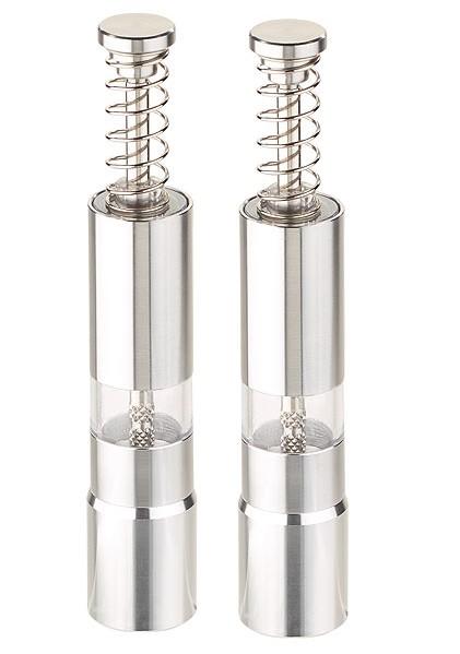 Pack de 2 moulins poivre et sel manuel - 15,5 cm