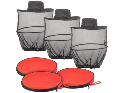 3 chapeaux pliables compacts avec moustiquaire intégrée, maille 300