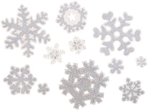 11 stickers de fenêtre 3D en gel design flocons de neige