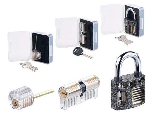 kit entrainement au crochetage avec barillet serrures transparentes et cadenas transparents AGT