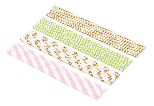 100pailles en papier à 4couleurs et motifs