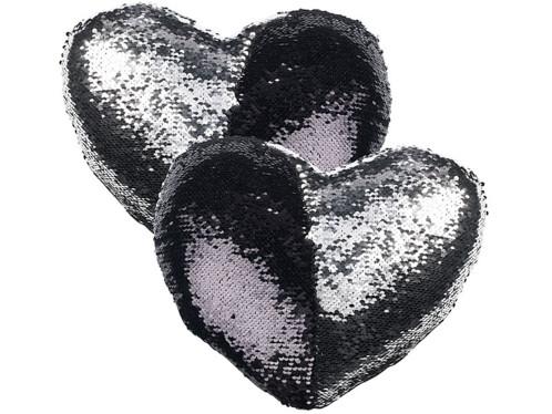2 coussins cœur paillettes et velours, coloris noir & argent