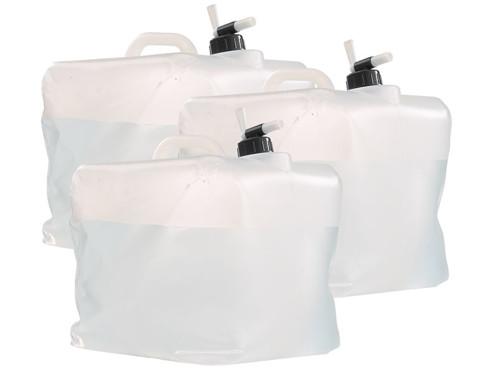 3 bidons pliables cubiques avec robinet intégré - 20 L