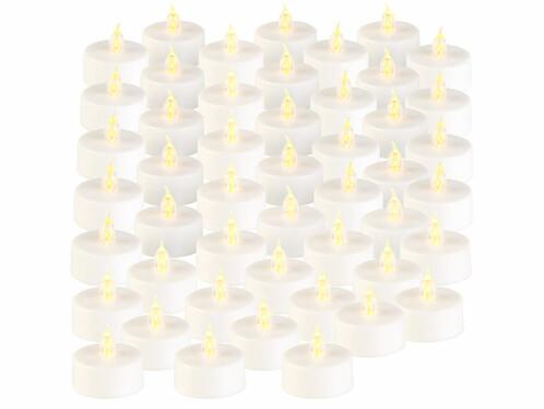 48bougies plates à LED avec effet flamme vacillante