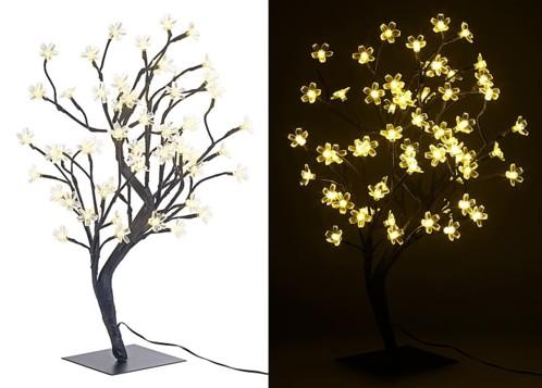 Arbre lumineux 45 cm avec 64 fleurs à LED