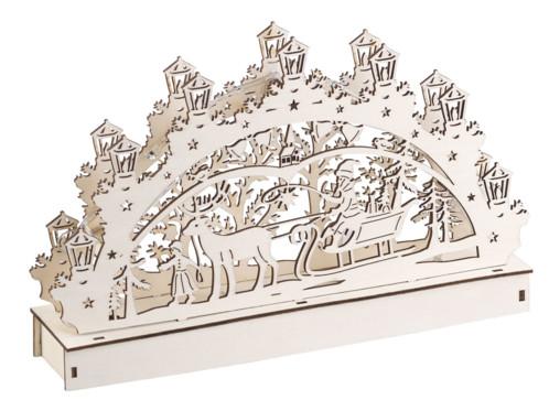 Arche lumineuse en bois motif Père Noël & renne