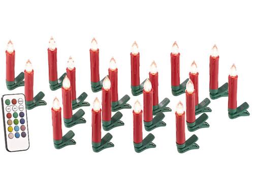 20 guirlande led avec clip formes bougies rouges pour sapin de noel avec télécommande