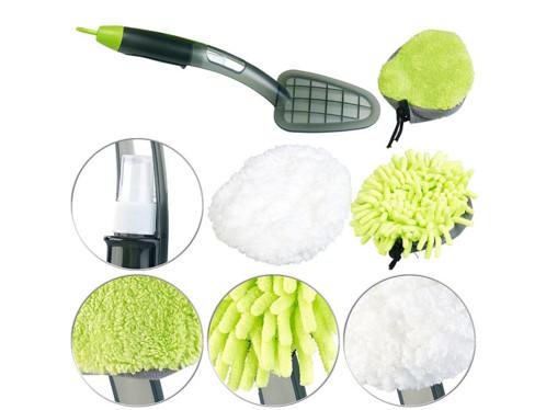 brosse de ménage avec 3 tetes pour poussière vitres polish et spray nettoyant intégré pearl